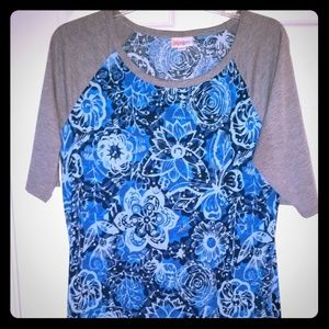 Lularoe Julia XL blue black flowers randy sketcher